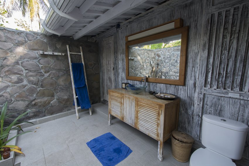 Our bathroom at Gili Eco Villas, genuinely balinese