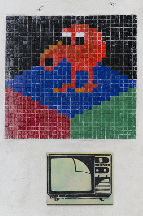 Pixelated street art at the Latin Quarter, Paris