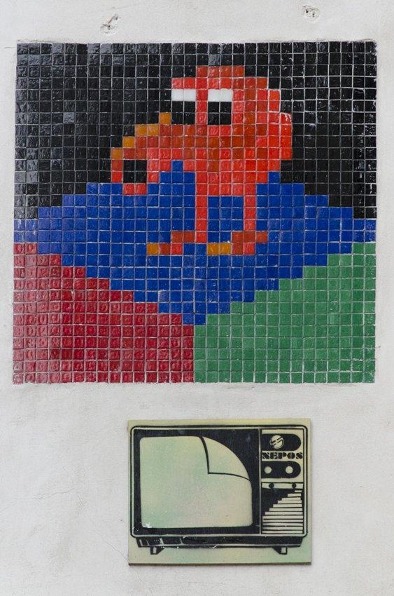Pixelated street art at the Latin Quarter, Paris
