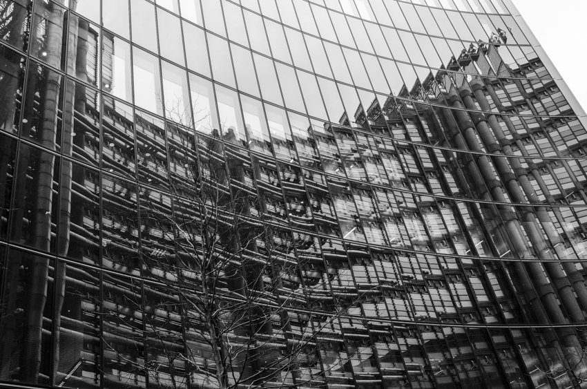Playing with reflections in the steel and glass buildings in London