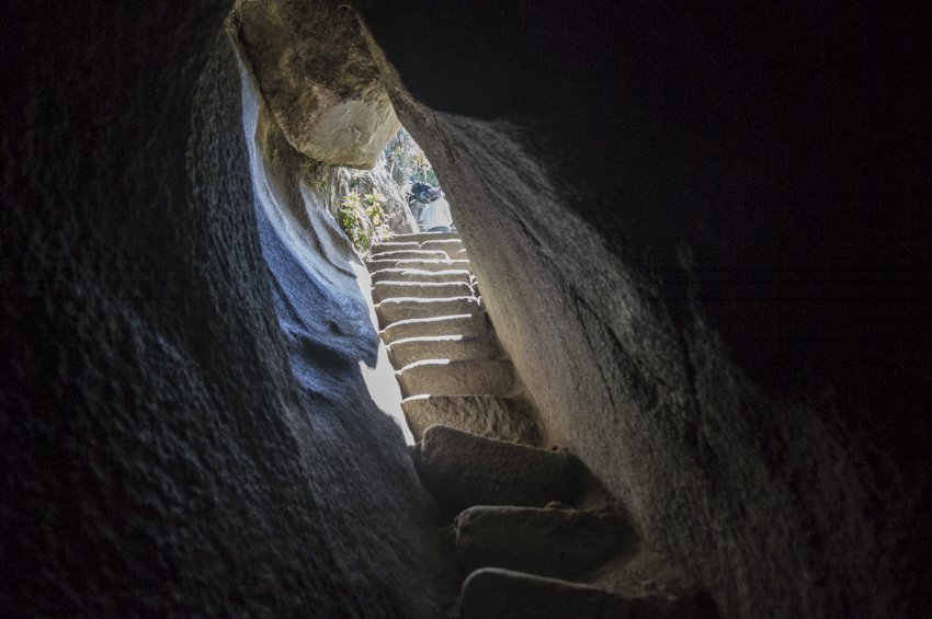One of the tunnels to the summit of Huayna Picchu