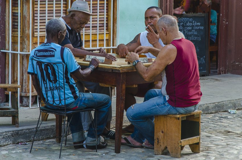 Playing dominoes, Trinidad - people