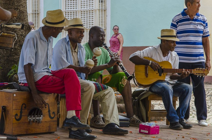 Band playing in Iglesia Parroquial de la Santisima Trinidad - people