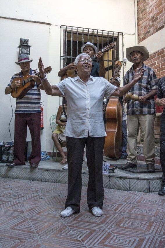 A spontaneous singer in Casa de la Música, Santiago de Cuba - people