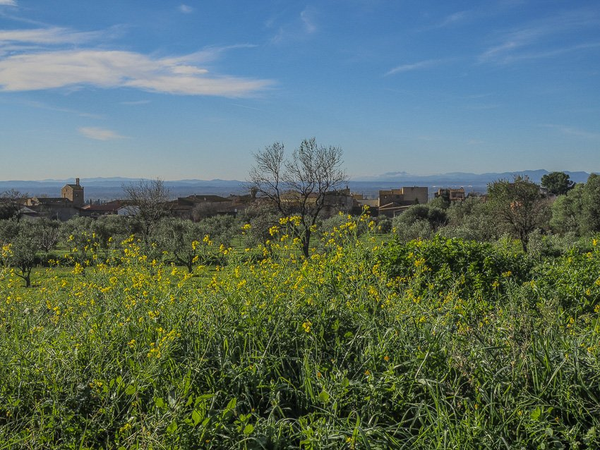 Costa Brava countryside with Medieval village in the background
