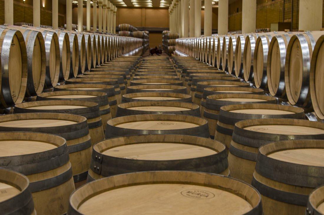 Wine barrels at Bodegas Finca Valpiedra, Rioja