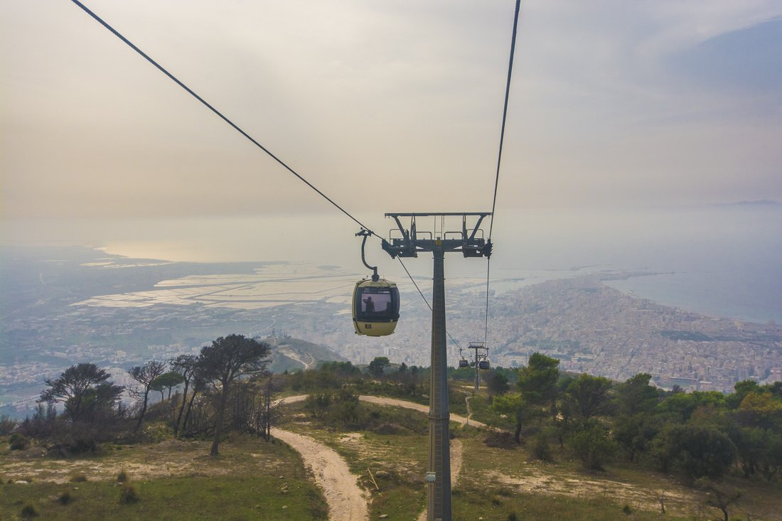 Cable car down to Trapani