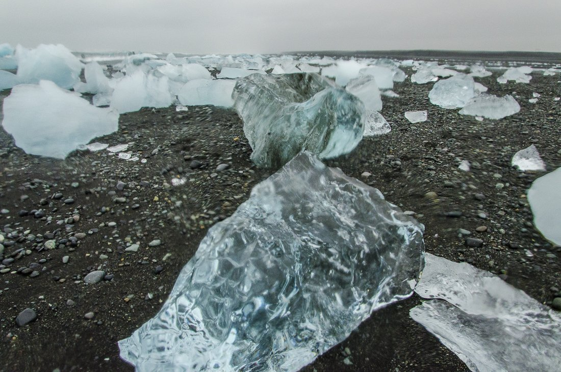 Pieces of icebergs on the beach