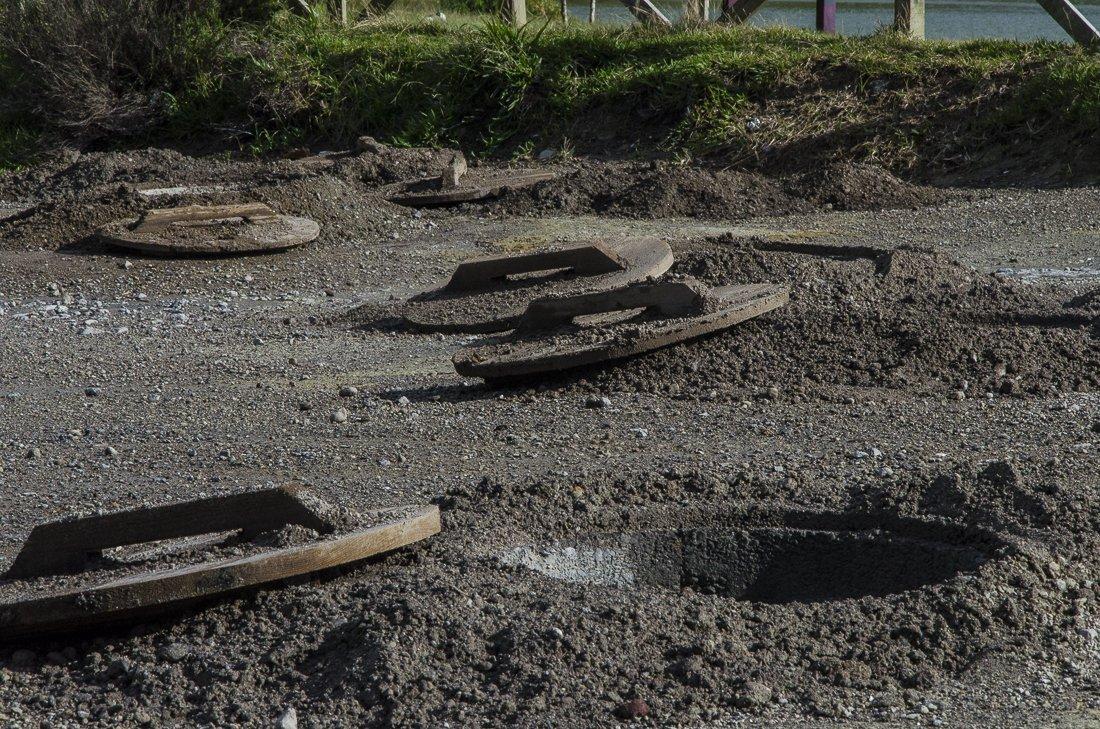 Empty holes where cozidos are cooked at Furnas caldeiras