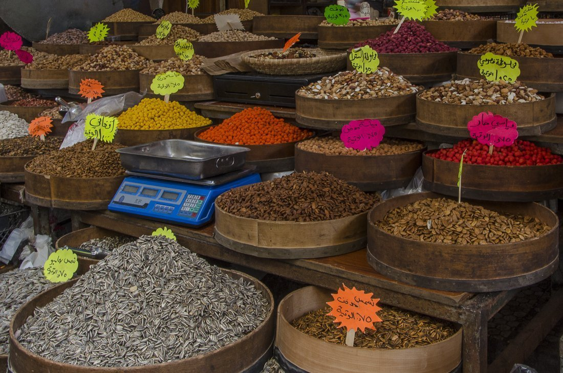 Aromatic herbs and spices at the fruit and vegetable market