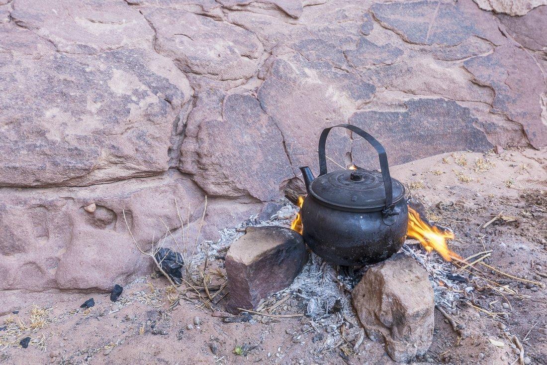 A hot pot of sage tea in Wadi Rum