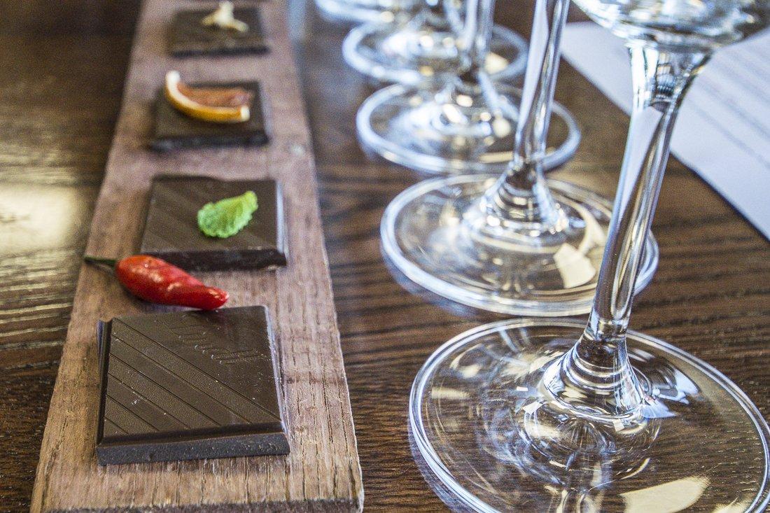Wine and chocolate pairing at Vrede en Lust Winery, Franschhoek