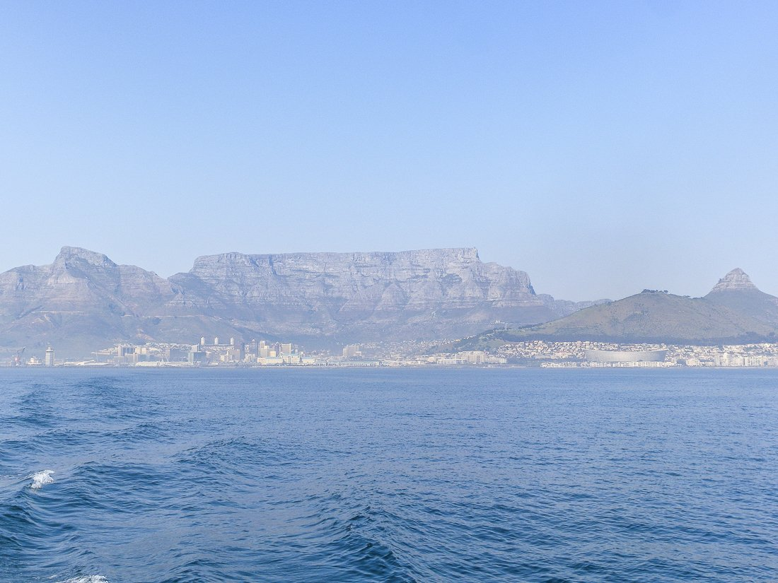 View of Table Mountain from the Robben Island boat