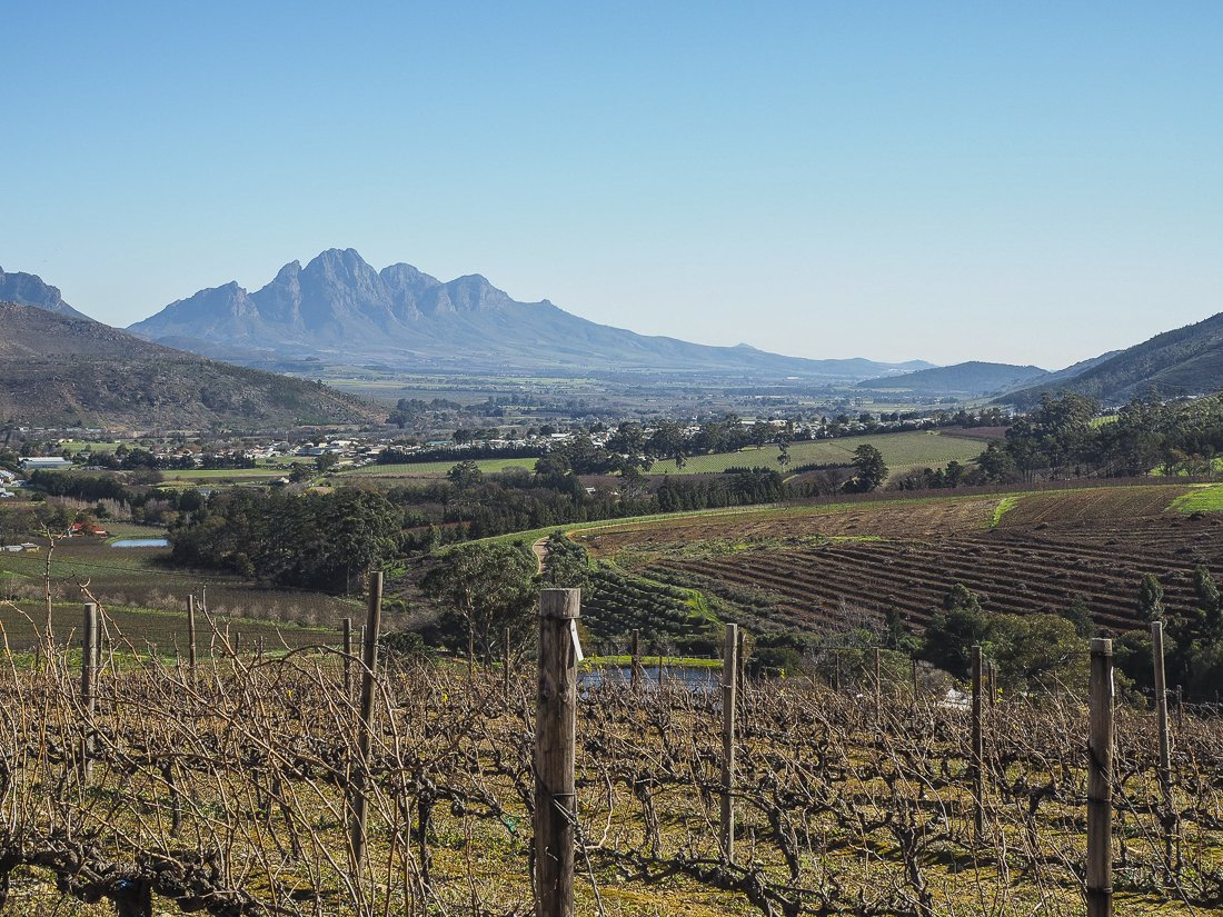Views over Franschhoek from Dieu Donné
