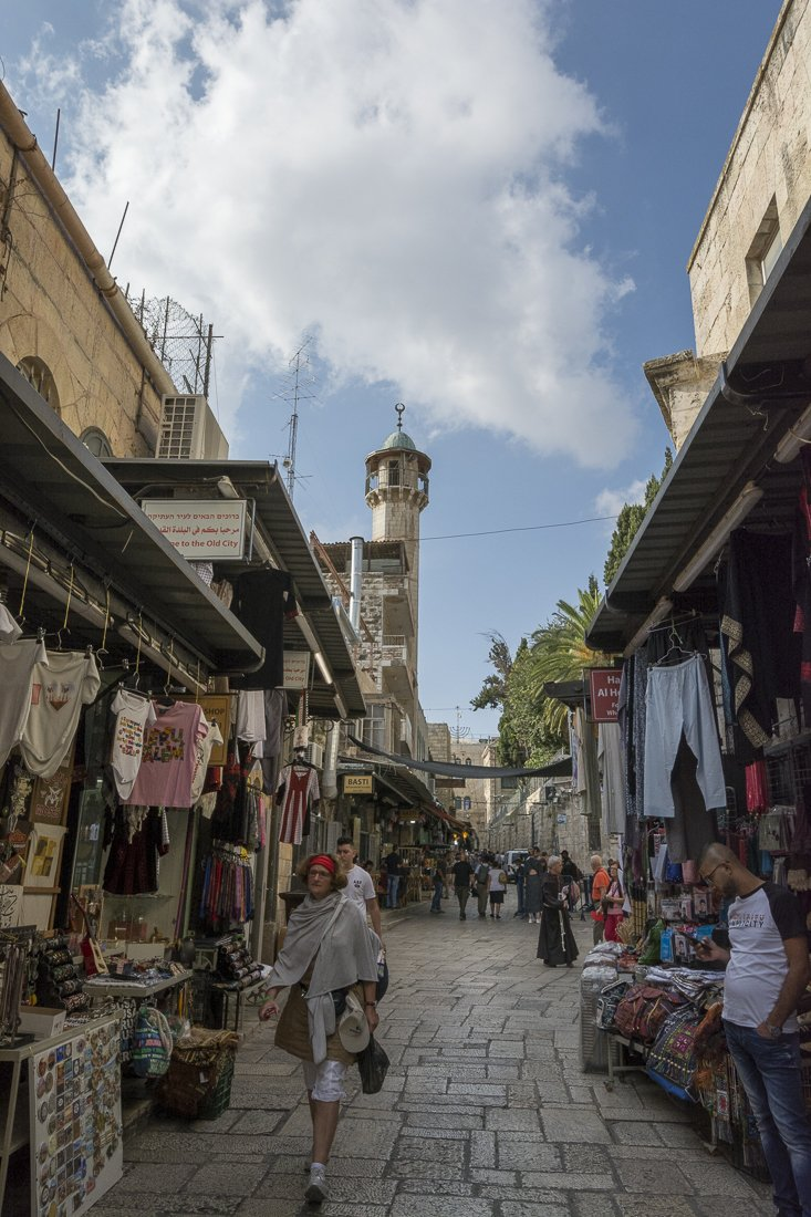 Street in the Muslim quarter, becoming busier