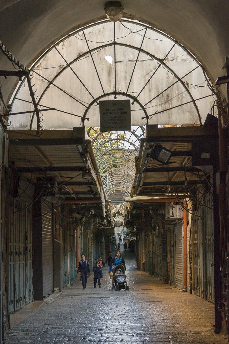 Closed souk in Jerusalem's Old City