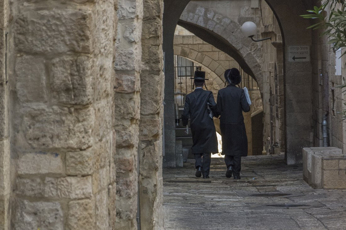 Ultra-orthodox students in the Jewish quarter, Jerusalem's Old City