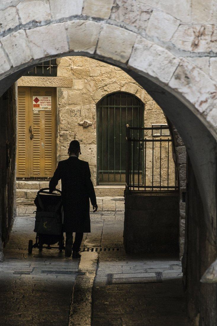 Walking the kid to school, Jerusalem's Old City