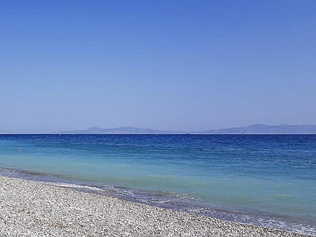 View of Turksh coastline from Ialysos beach, Rhodes