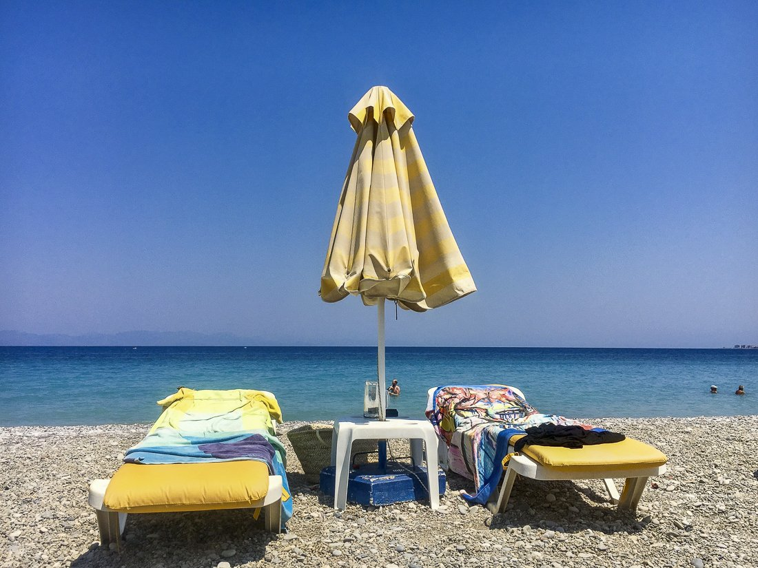 Sun beds available to rent on most beaches