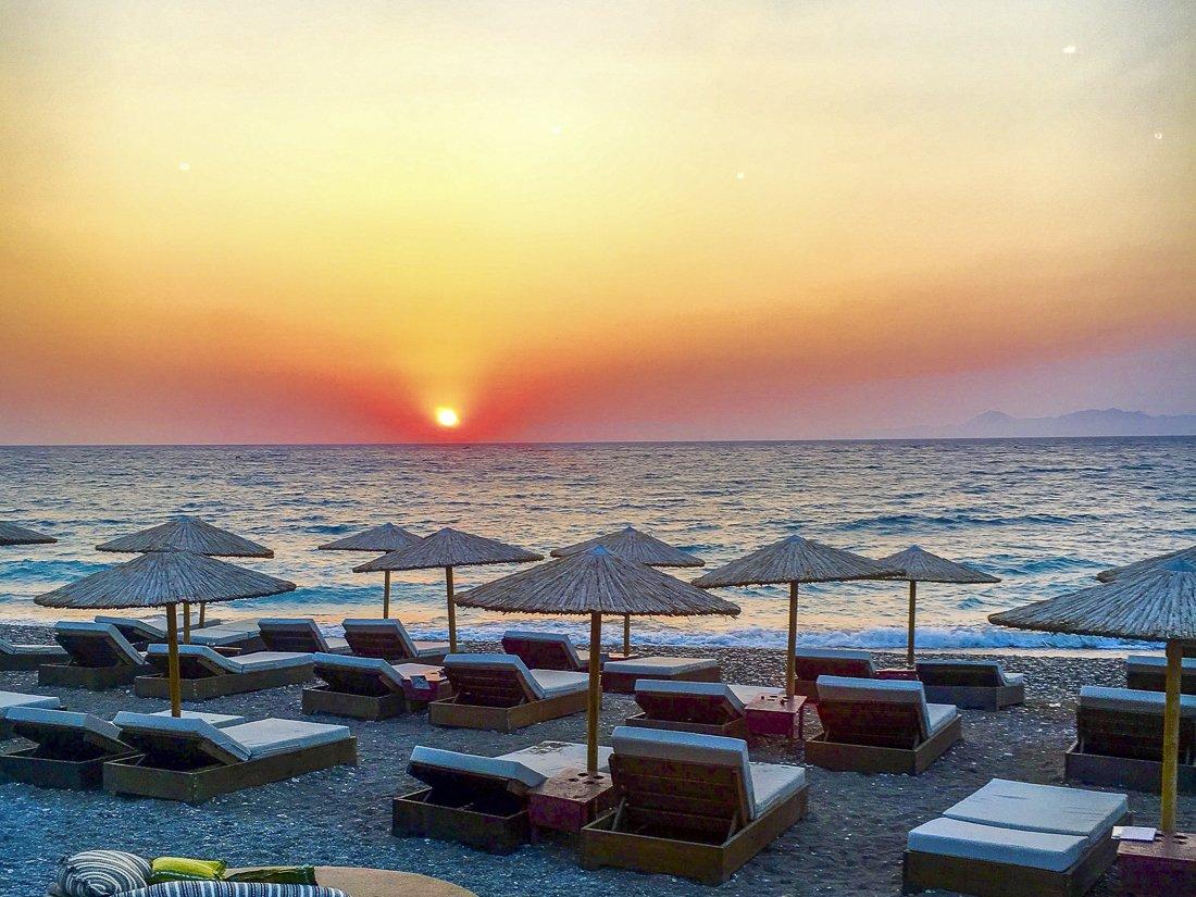 Watching the suns et at Amalfi Coast Restaurant and Beach Bar